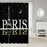 Eiffelturm Duschvorhang Sternenklarer Himmel Serie Wasserdichter Duschvorhang Paris Berühmter Romantischer Stadtbild-Badevorhang Für Erwachsene Frauen Mädchen Badezimmer Dekor Mit Haken,180x200 (WxL)