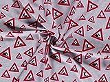 Frottee-Stoff mit Schlaufenrückseite, Grau und Rot,