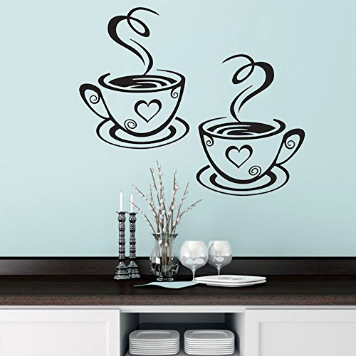 Wandaufkleber Wandtattoo Wohnzimmerd072 Ein Paar Kaffeetassen, Euramerican Sprichwörter, Tapeten Shop, Café, Aufkleber 31 * 19Cm, Außenhandel Wandaufkleber.