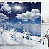 ABAKUHAUS Weiß Duschvorhang, Schnee bedeckte Bäume, mit 12 Ringe Set Wasserdicht Stielvoll Modern Farbfest & Schimmel Resistent, 175x200 cm, Weiß Blau