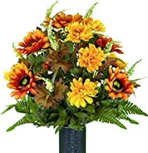 Sympathy Silks Artificial Cemetery Flowers – Realistic, Outdoor Grave Decorations - Non-Bleed Colors- Orange Sunflower and Yellow Mum Mix Bouquet for Cemetery- vase Sold Separately