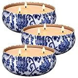 Laskey 3 x 13.5 Oz 3-Wick Citronella Candles Indoor and Outdoor, Scented Candle Natural Soy Wax Portable Travel Tin Gift Set