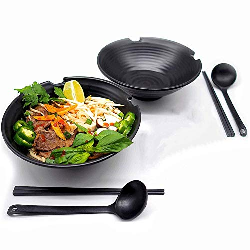 Japanese Ramen Soup Bowl, 2 Sets 1000ML Hard Plastic Salad Bowls with Matching Spoon and Chopsticks, for Udon Soba Pho Asian Noodles