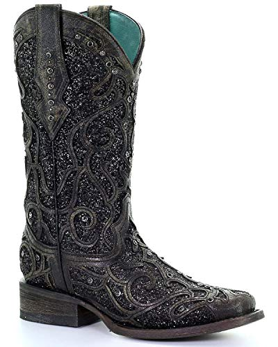 CORRAL Women's Glitter Inlay and Studs Western Boot Square Toe Black 7 M