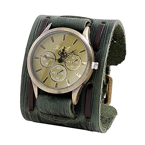 Shmtfa Reloj Vintage para Hombre Reloj De Pulsera De Cuarzo AnalóGico CronóGrafo No Resistente Al Agua con Correa De Cuero Duradera para DecoracióN De MuñEca De Todo Partido(Verde)