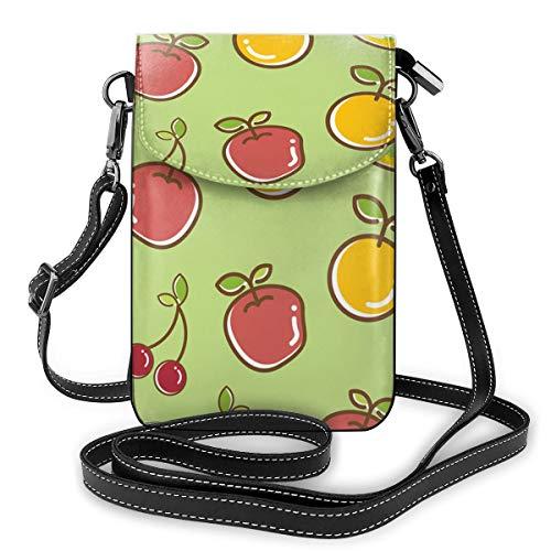 Mango Cherry En Oranje Kleine Crossbody Tassen Crossbody Mobiele Telefoon portemonnee - Vrouwen PU Lederen Handtas Met Verstelbare Band Voor Dagelijks Leven