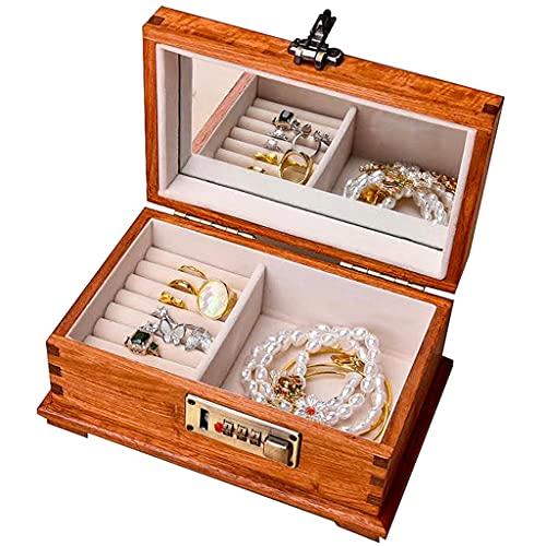 Yousiju Caja de embalaje de madera para joyas de viaje, portátil, anillo de boda, collar, pulsera, organizador de mujeres, hombres y mujeres (tamaño pequeño: