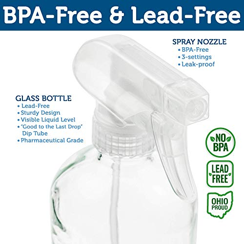 Empty Clear Glass Spray Bottles - Refillable 16 oz Containers for Essential Oils, Cleaning Products, Aromatherapy, Misting Plants, or Cooking - Reliable Sprayer with Mist and Stream Settings - 2 Pack