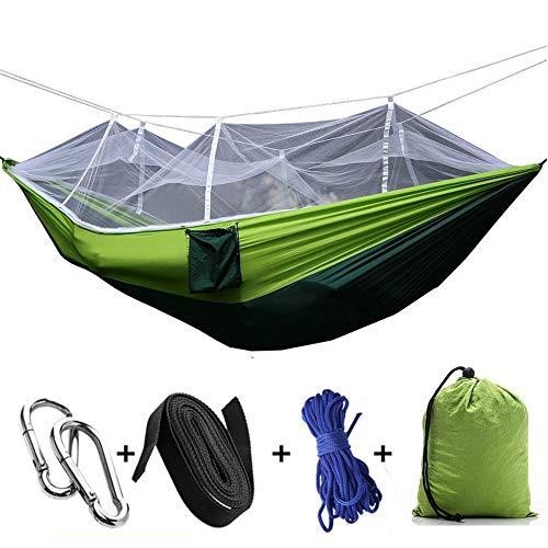 NINI Camping Tente de Jardin hamac, Kit de Survie Sac hamac Net Arbre hamac Voyage extérieur pour Camping Randonnée pédestre Abri extérieur Simple balançoire Double Adulte Parachute en Tissu,Vert
