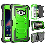 Tinysaturn Galaxy Luna Case, Galaxy Amp 2 Case, Galaxy Express 3 Case,J1 2016 Case, (TM) [Yvenus Series] [Green] Shock Absorbing Holster Belt Clip [Built-in Screen] Cover for Samsung Galaxy J1 2016