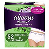 Always Discreet Incontinence & Postpartum Incontinence Underwear for Women, X-Large, 52 Count, Maximum Protection, Disposable (26 Count, Pack of 2 - 52 Count Total), Packaging May Vary