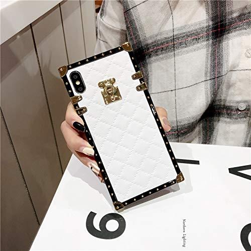 SelliPhone for iPhone Xs Max Grid Plaid Case,Luxury Square Box Design Cute Slim Diamond Lattice Soft TPU Trunk Case,Unique Women Girls Lady Phone Skin for iPhone Xs Max 6.5',White
