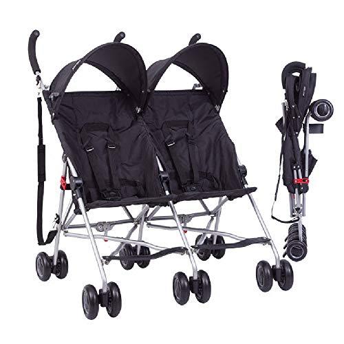 ZXCVB Twin Kinderwagen, Geeignet for 0-3 Jahre alt, Leichtklapp Super Light Doppelstoßdämpfender Stroller