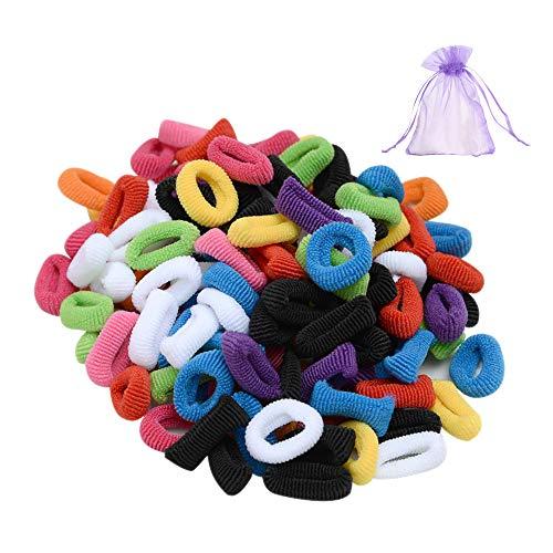 SENDILI Haargummis für Mädchen - 100 Stück Mehrfarbig Mini Haarband Weich Elastisch Gummibänder Haar Haargummi für Baby Kleinkind Pferdeschwanz Haarschmuck