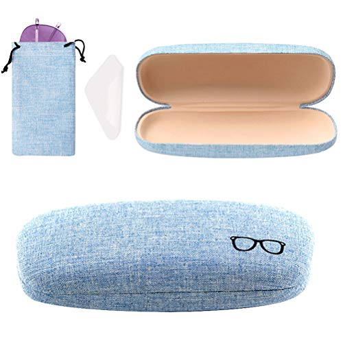 Hard Shell Eyeglasses Case, Linen Fabrics Glasses Sunglasses Protective Case with Eyeglass Drawstring Pouch Cleaning Cloth for Women Men