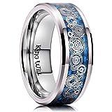 King Will 8mm Men Titanium Wedding Ring Inlaid Blue Carbon Fiber&Concentric Circles Pattern 8.5