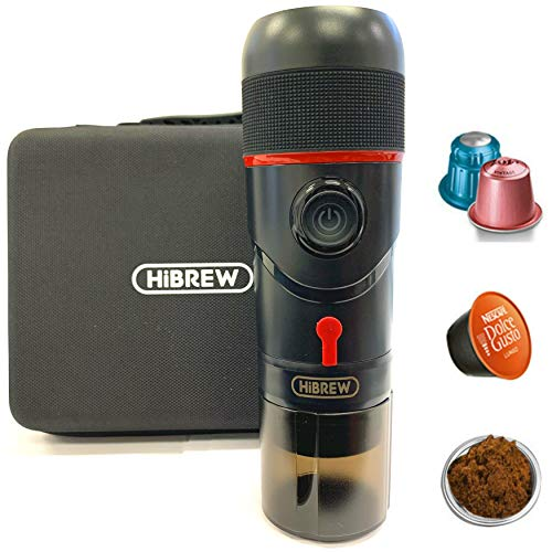 HiBREW Portable 3-in-1 Multi-Function Electric Espresso Maker for Vehicle, Travel, Home, Office Compatible with Nespresso, Dolce Gusto, Ground Coffee (Premium Model)