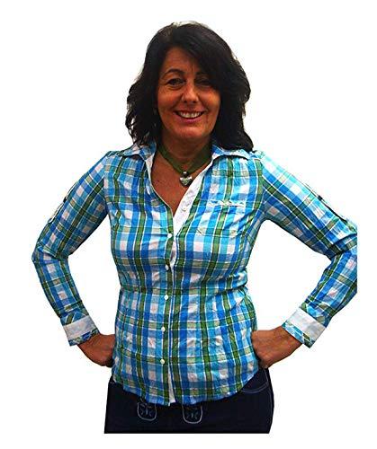 Spieth & Wensky klederdrachtblouse voor dames, turquoise Emillia geruit, blouse met lange mouwen