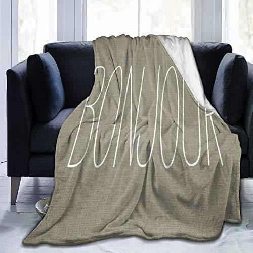 HUAYEXI Manta de Franela Suave,Tan Hello Bonjour Beige Color Toss Whimsical,Cama de Camping para sofá 153x127cm