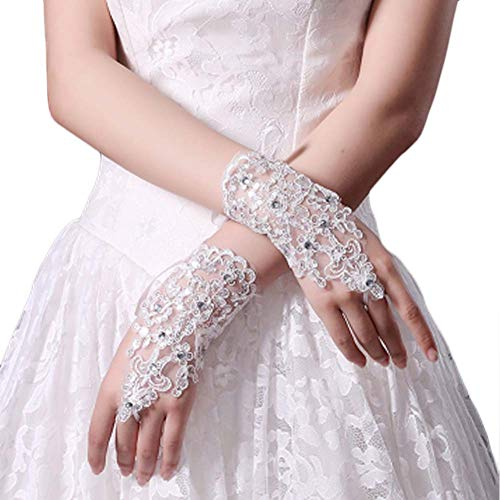 Gants de mariée mariage robes de soirée dentelle gants courts B19