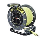 Luceco Masterplug Pro-XT- OMIT25164SL-PX Avvolgicavo Elettrico 25m, 4 Prese Multistandard Schuko, Bipasso, EU, Spina Ita. 16A, Indicatore LED, Protezione Termica, Cavo Alta Visibilità, Giallo (Lime)
