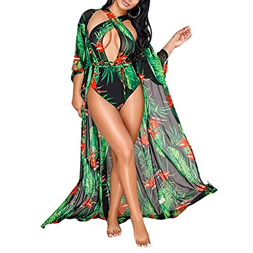 Women's Dyeing Bikini One Piece Swimsuit+Ponchos Cover Up Set Swimwear Beach Dress (Medium, Green)