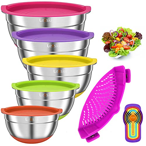 Lenski Mixing Bowls with Airtight Lids, 5 piece Stainless Steel Metal Bowls