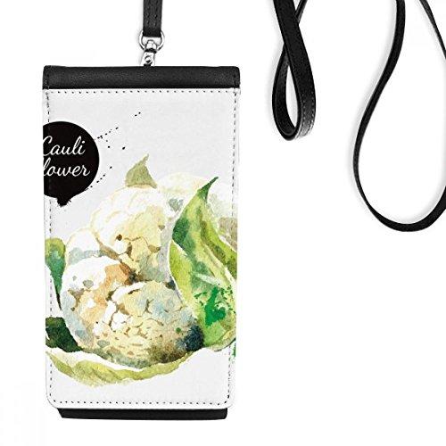 Bloemkool Plantaardige Lekker Gezond Aquarel Kunstleer Smartphone Hangende Handtas Zwart Telefoon Portemonnee Gift