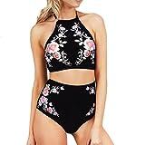 OVERDOSE Frauen Push-Up Neckholder Padded Bra Beach Bikini Set Damen Blumen Badeanzug Druck Bademode Mädchen Badeanzug(A-Schwarz,L)
