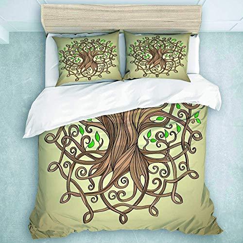 993 CCOVN Bedding Bedrucktes Bettbezug-Sets Der erstaunliche Baum des Lebens des Knotens im keltischen Muster lässt Wurzel-Kultur Mikrofaser Kinder Student Schlafsaal Bettwäsche Set