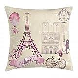 ABAKUHAUS Beso Funda para Almohada, Floral Símbolos de París Lugares Torre Eiffel Flobo Aerostático Bicicleta Enamorados, Estampa Digital Nítida en Ambos Lados, 40 x 40 cm, Marfil