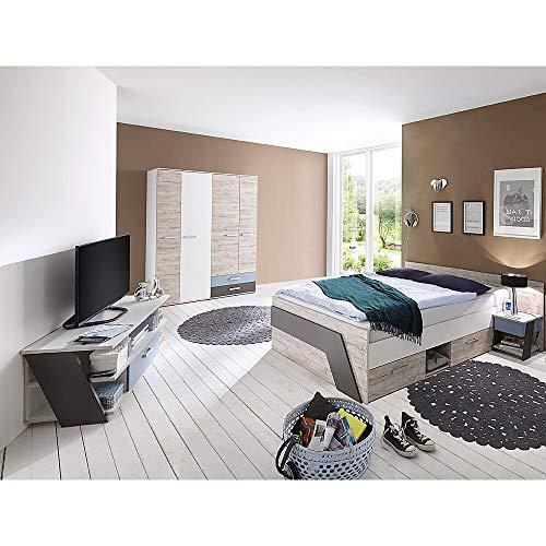 Jugendzimmer Komplett Set Kinderzimmer Schlafzimmer Set LEEDS-10 & Kleiderschrank Lowboard Bett 140x200cm und Nachtisch in Sandeiche Nb.-weiß/Lava-Denim