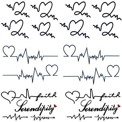 Yesallwas Cute Temporary Tattoo Sticker Letters Love Heartbeat Wave Tattoo Word Tatoo Fake Tattoos product image