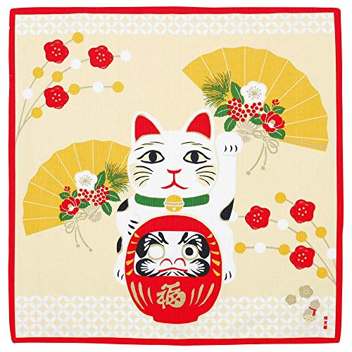 Hamamonyo Furoshiki Maneki Neko Fortune Cat and Daruma - Ropa de baño