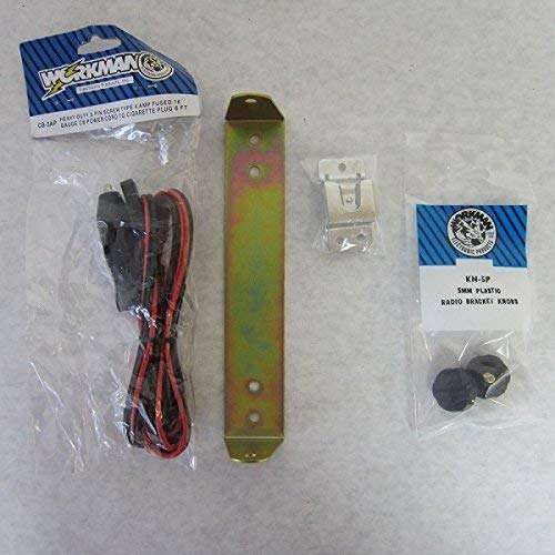 Workman CB Radio Mount Bracket for Cobra 29 Kit (Power Cord, knobs, Bracket, mic Clip)