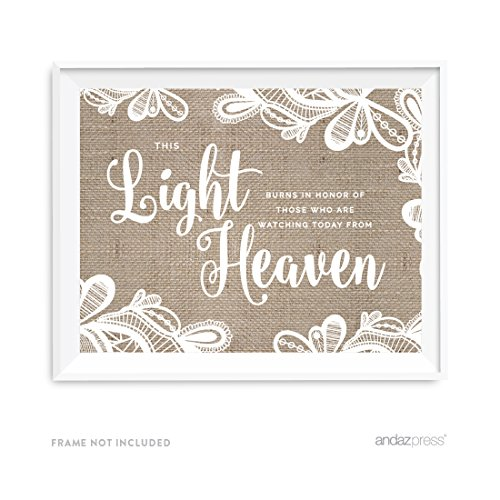 Andaz Press Burlap Lace Print Wedding Collection, Party Signs, This Light Burns to Honor Those Who are Watching Today from Heaven Memorial Candle Table Sign, 8.5x11-inch, 1-Pack