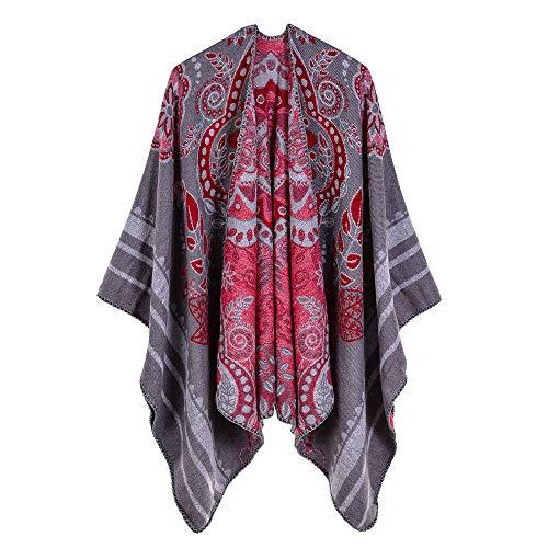 THTHT Sjaal Fashion Dames sjaal verdikking etnische stijl bloem bescherming jacquard warm en lange herfst en winter Dual Use-Classic grijs