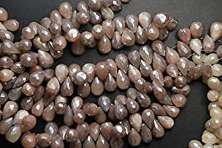 World Wide Gems 7'' Strand, Natural Moonstone, Mystic Cream Peach Moonstone Faceted Tear Drops 10-12mm