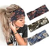 Handcess Boho Yoga Turbante Elástica Flor Criss Cruz, Elegante Impreso para Mujeres y Niñas (Paquete de 3)