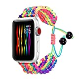bandmax Armband kompatibel für Apple Watch 38mm 40mm, Nylon Gewebe Denimstoff Ersatzarmband Fashion...