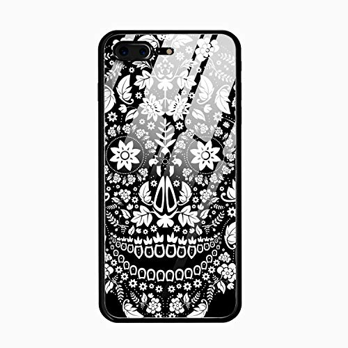 Floral Skeleton iPhone 8 Plus Case,9H Tempered Glass Back Cover [Scratch-Resistant] + Soft Silicone Bumper [Shock Absorption] Compatible for iPhone 8 Plus /10
