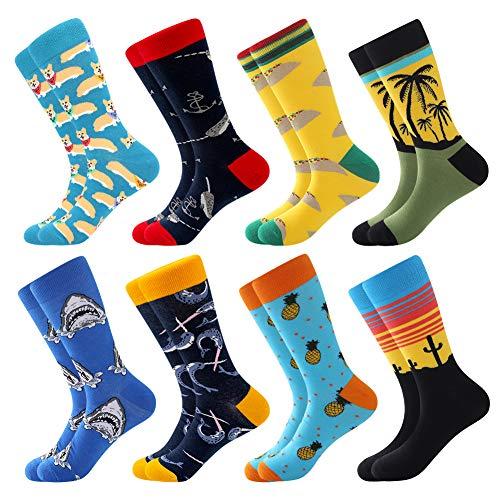 Coloridos Calcetines Para Hombres,Calcetines de Vestir Divertidos, Calcetines de Oficina de Algodón con Estampados Divertidos y Elegantes de Fantasía, Locos Geniales (39-46, 8 Pairs-Pineapple2)