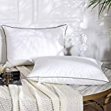 Dorrin Nessin Goose Down Pillows for Sleeping (Set of 2,Queen Soft), White Goose Down Feather Pillow,Premium 100% Cotton Fabric Soft with Blue Piping