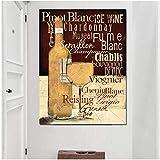 WANGHH Bicchieri da Vino Rosso Moderno Bottiglia Citazione Tela Pittura Poster e Stampe Vintage Immagine di Arte della Parete per Soggiorno Decorazioni per la casa-50x70cm Senza Cornice