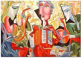 """Pintura Grande Lienzo al Óleo Arte Abstracto Moderno """"RITMO DE LA MUSICA"""" por DOBOS, Cuadro Original para Decoración del H..."""