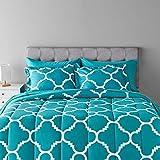 Amazon Basics 7-Piece Light-Weight Microfiber Bed-In-A-Bag Comforter Bedding Set - Full or Queen, Teal Trellis