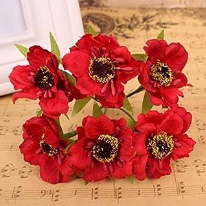 Artificial and Dried Flower 6pcs/lot 3.5mm Artificial Poppy Flowers Mini Silk Cherry Blossoms Fake Rose Flower Bouquet Wedding Decor Scrapbooking Wreath