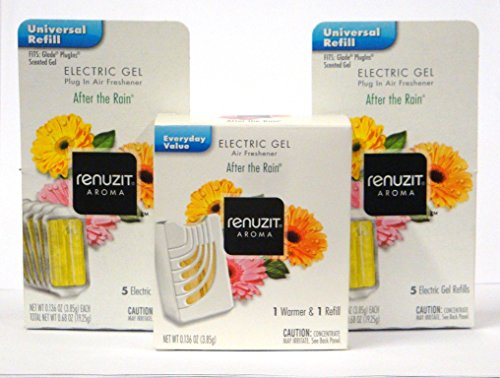 Renuzit Electric Gel After the Rain Air Freshener Warmer, and 11 Refills