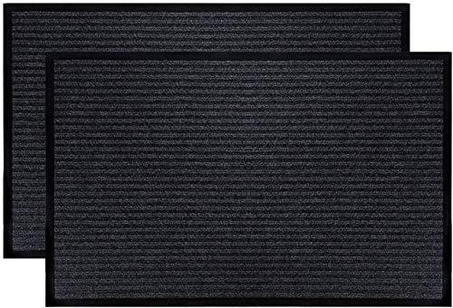 Tebery Alfombrillas de entrada para interiores y exteriores, 2 unidades, 50 x 80 cm (gris)