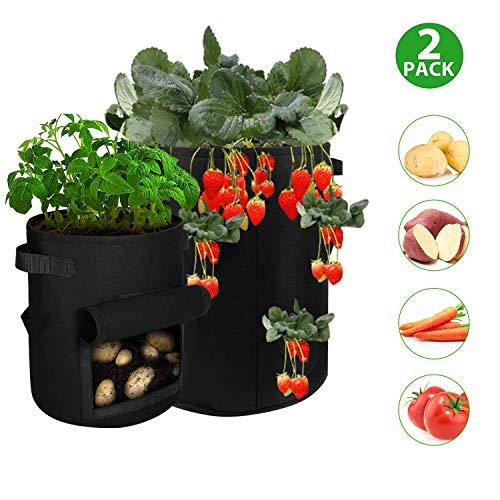T98 Pflanzsack, Kartoffel Pflanzbeutel Pflanztasche mit Sichtfenster und Griffen Filzstoff Pflanzen Tasche für Erdbeeren, Tomaten, Blume, 2 Stück